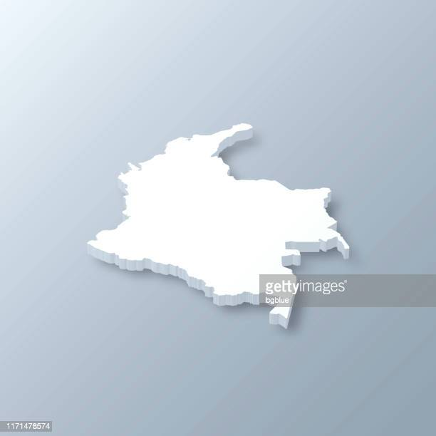colombia 3d map on gray background - colombia stock illustrations
