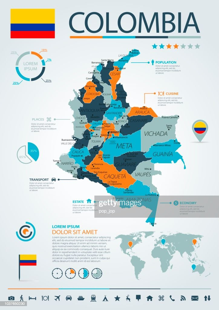 12 - Colombia - Blue-Orange Infographic 10 : stock illustration