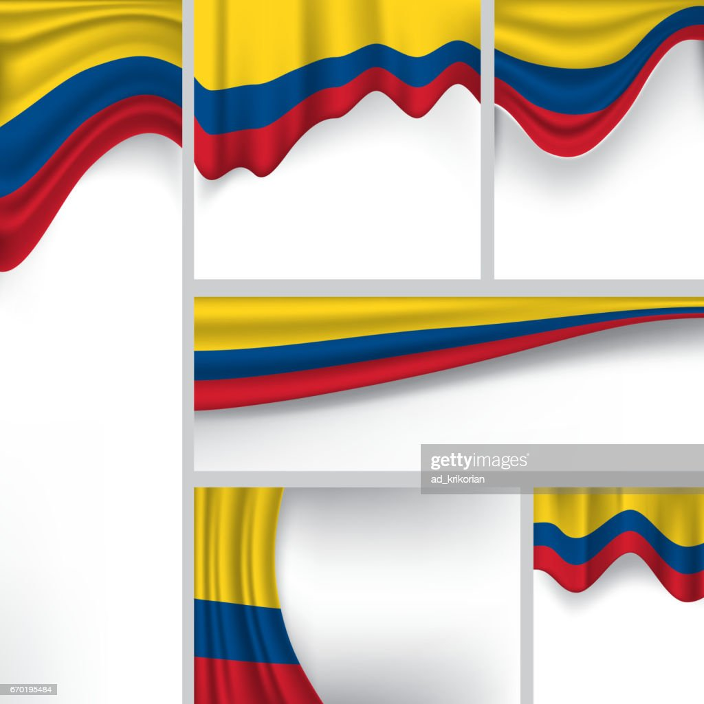 Colombia Country Flag, Colombian Abstract Background Collection (Vector Art)