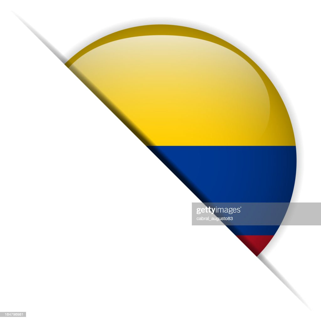 Colombia Flag Glossy Button Hidden