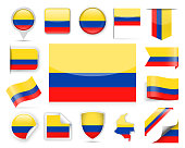 Colombia Flag Vector Set