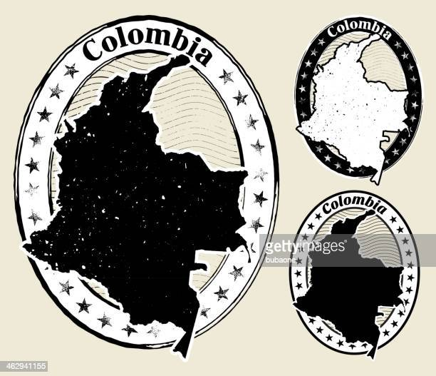 ilustraciones, imágenes clip art, dibujos animados e iconos de stock de colombia en estilo grunge - colombia