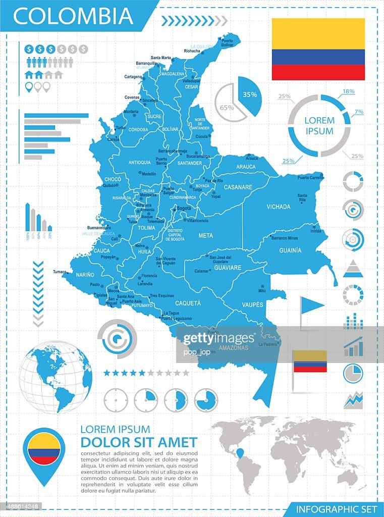 Colombia - infographic map - Illustration
