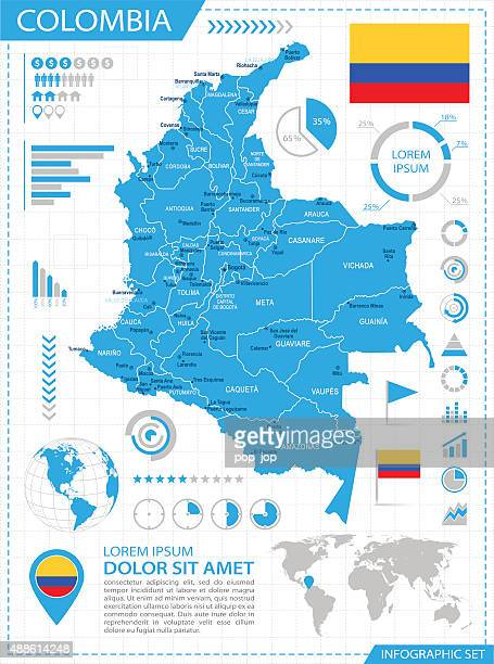 colombia - infographic map - illustration - colombia stock illustrations