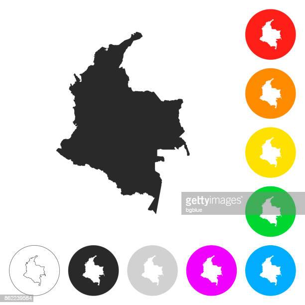 colombia map - flat icons on different color buttons - colombia stock illustrations