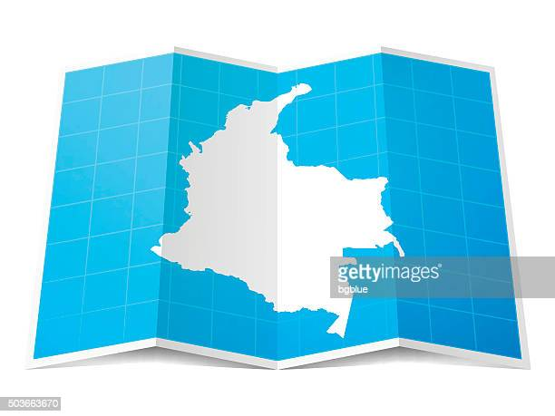 Colombia Map folded, isolated on white Background