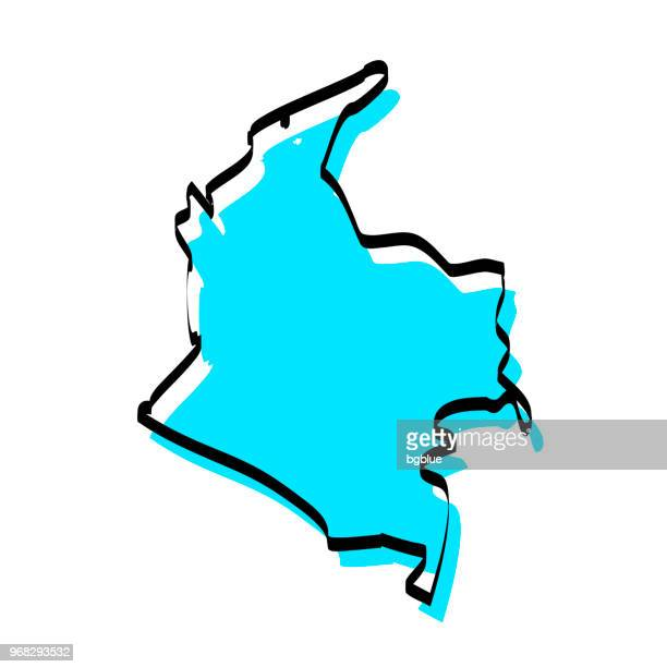 Colombia map hand drawn on white background, trendy design