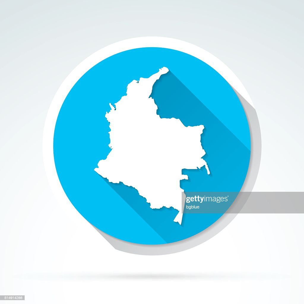 Colombia map icon, Flat Design, Long Shadow