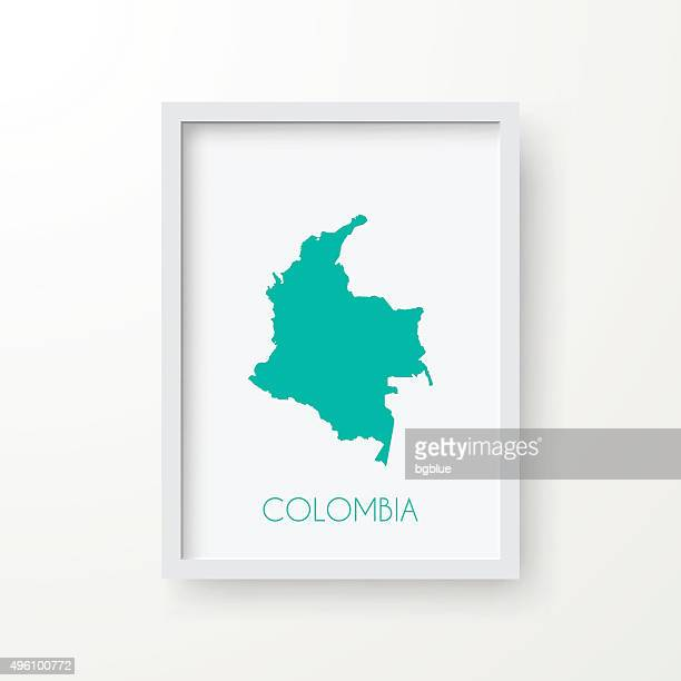 Colombia Map in Frame on White Background