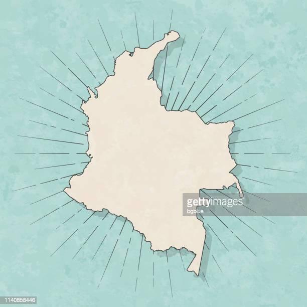 illustrazioni stock, clip art, cartoni animati e icone di tendenza di mappa colombia in stile vintage retrò - vecchia carta strutturata - colombia