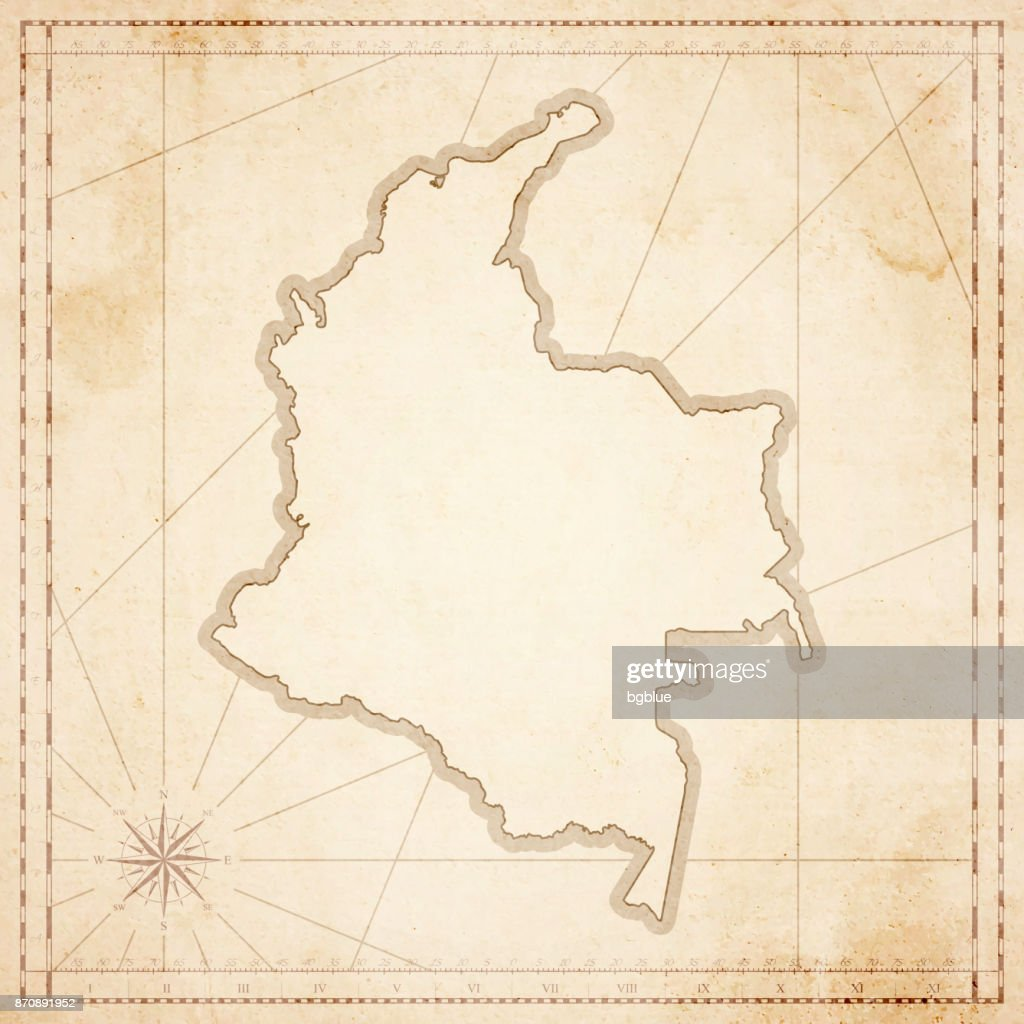 Colombia map in retro vintage style - old textured paper : stock illustration