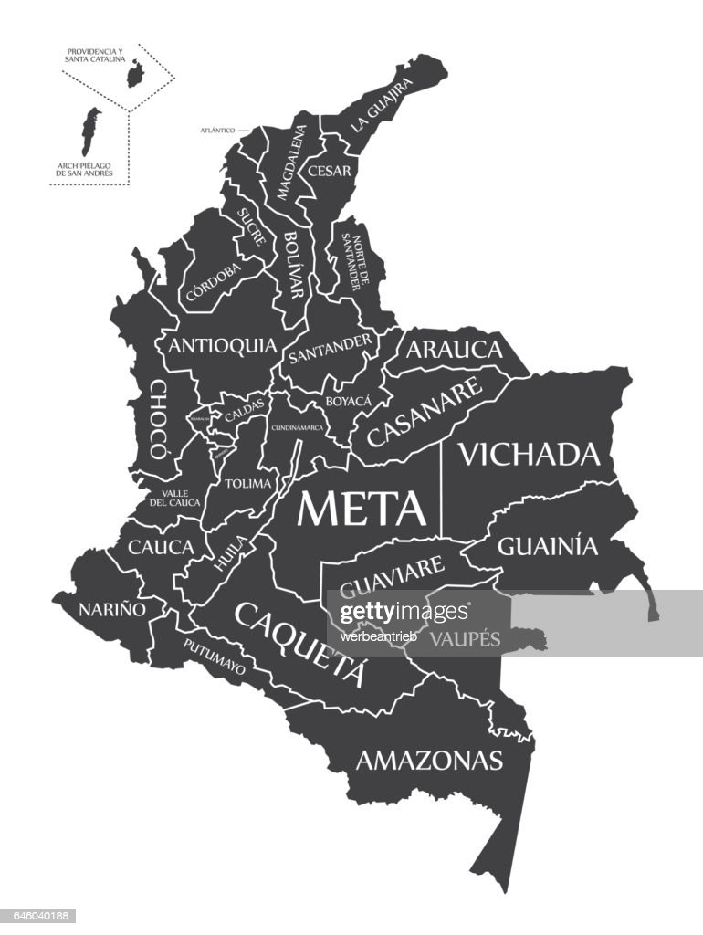 Colombia Map labelled black illustration