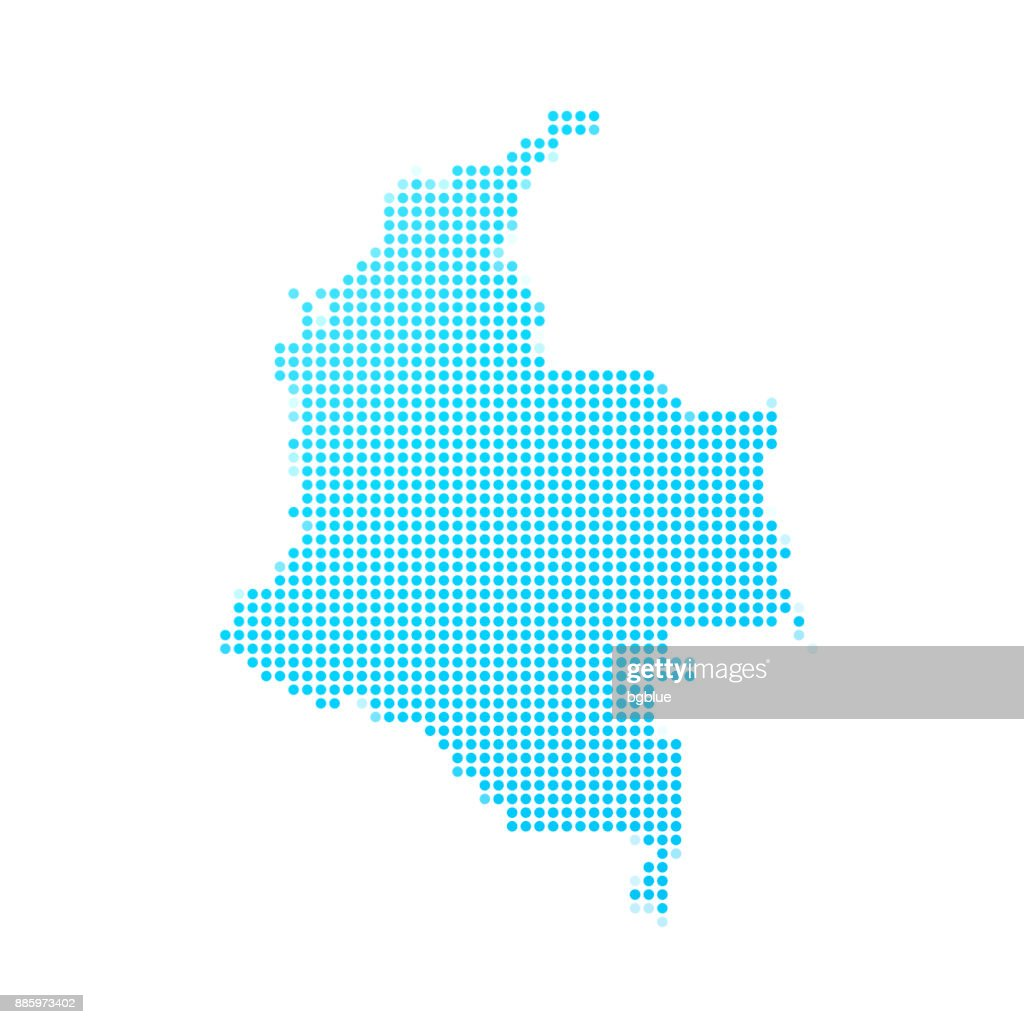 Colombia map of blue dots on white background : stock illustration