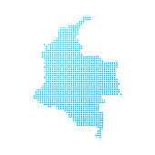 Colombia map of blue dots on white background