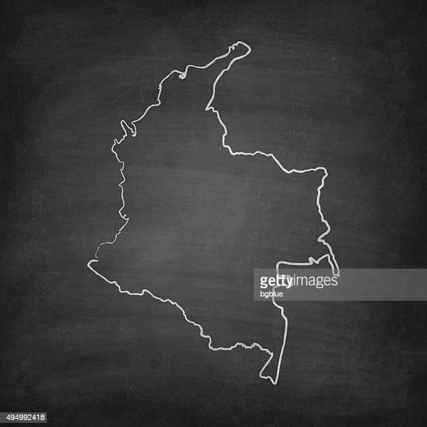 Colombia Map on Blackboard - Chalkboard