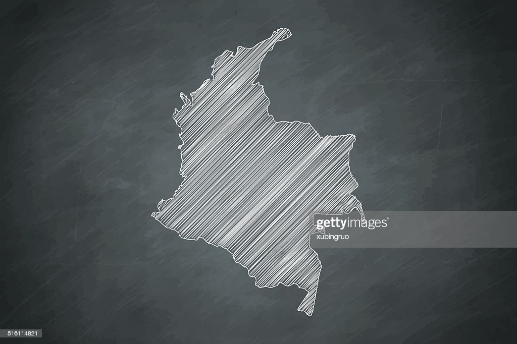 colombia Map on Blackboard : stock illustration