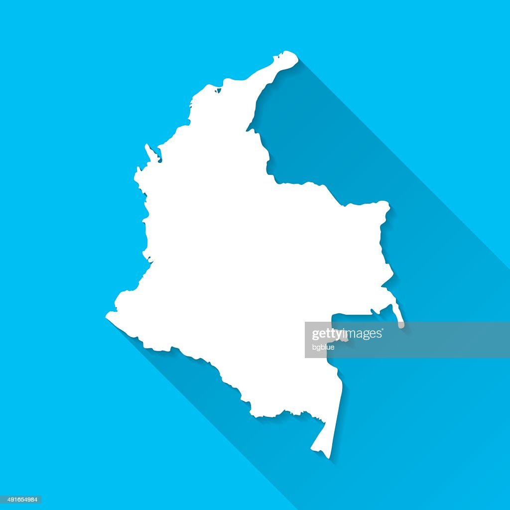 Colombia Map on Blue Background, Long Shadow, Flat Design