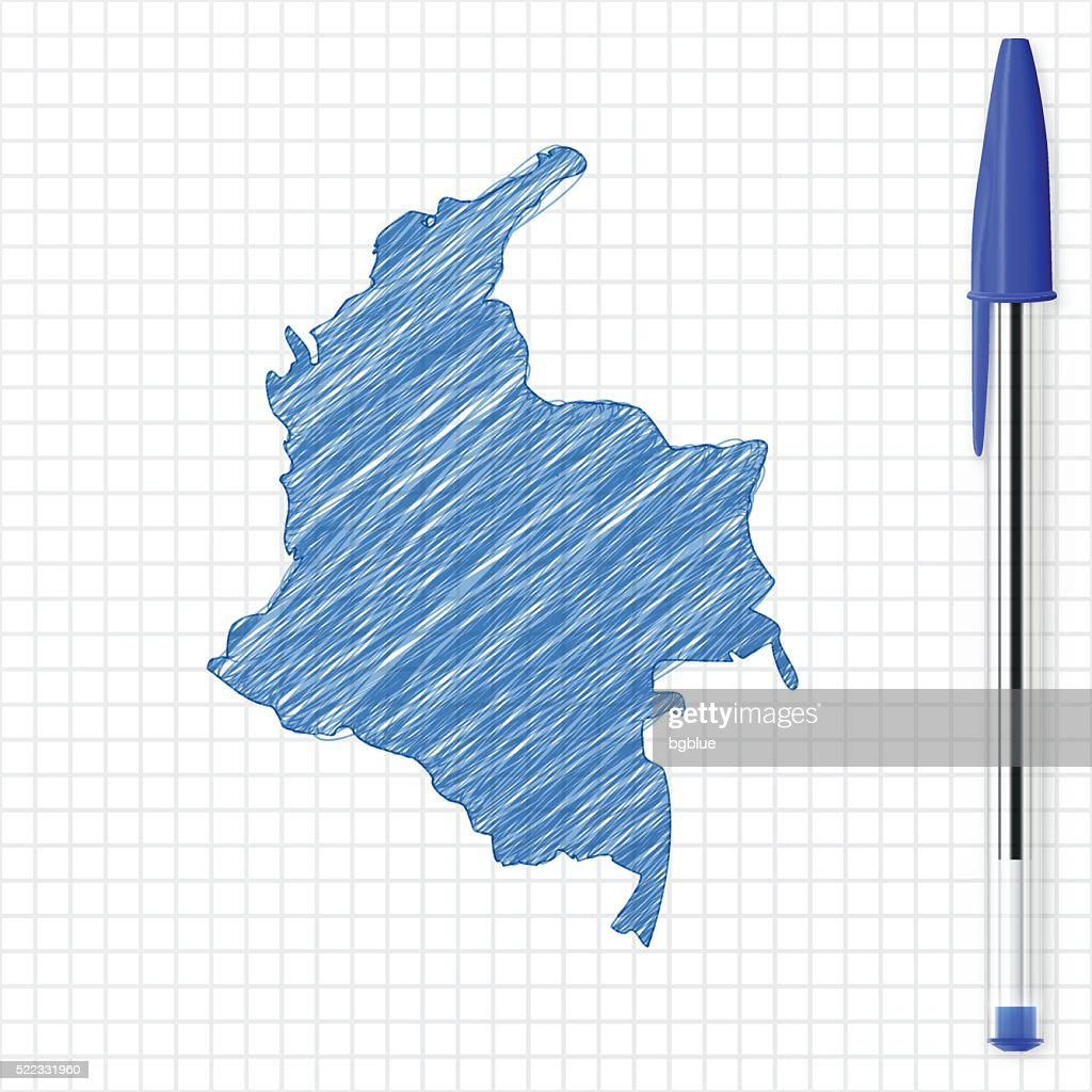 Colombia map sketch on grid paper, blue pen : stock illustration