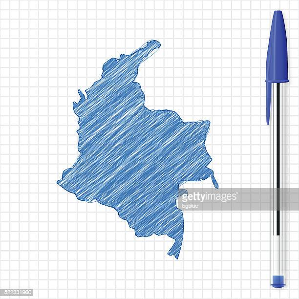 Colombia map sketch on grid paper, blue pen
