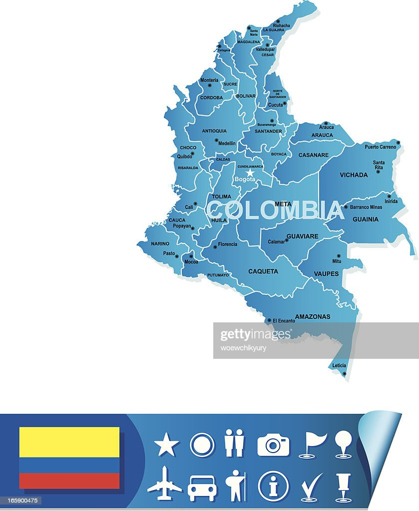 Colombia map : stock illustration