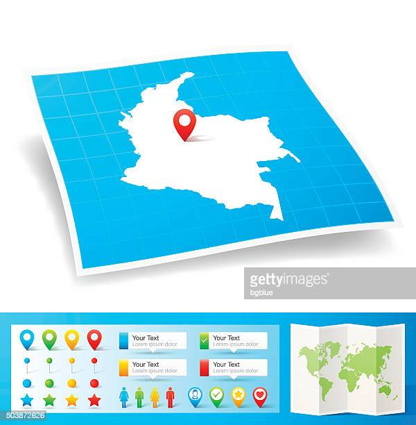 Colombia Map with location pins isolated on white Background