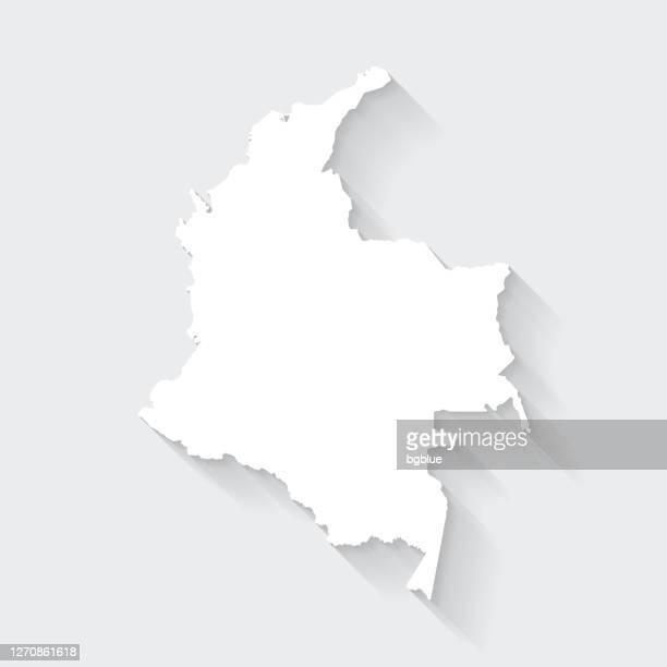ilustraciones, imágenes clip art, dibujos animados e iconos de stock de mapa de colombia con larga sombra sobre fondo en blanco - flat design - colombia