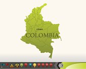 Colombia map with navigation icons