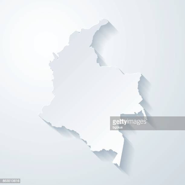 Colombia map with paper cut effect on blank background