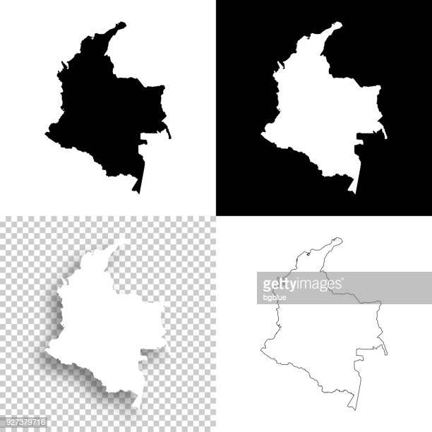 colombia maps for design - blank, white and black backgrounds - colombia stock illustrations
