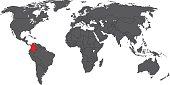 Colombia red on gray world map vector