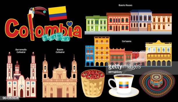 colombia symbols - sombrero stock illustrations