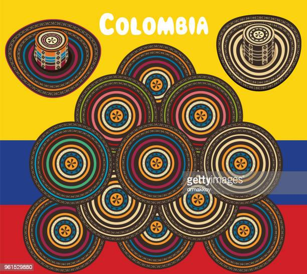 colombia sombrero vueltiao - sombrero stock illustrations