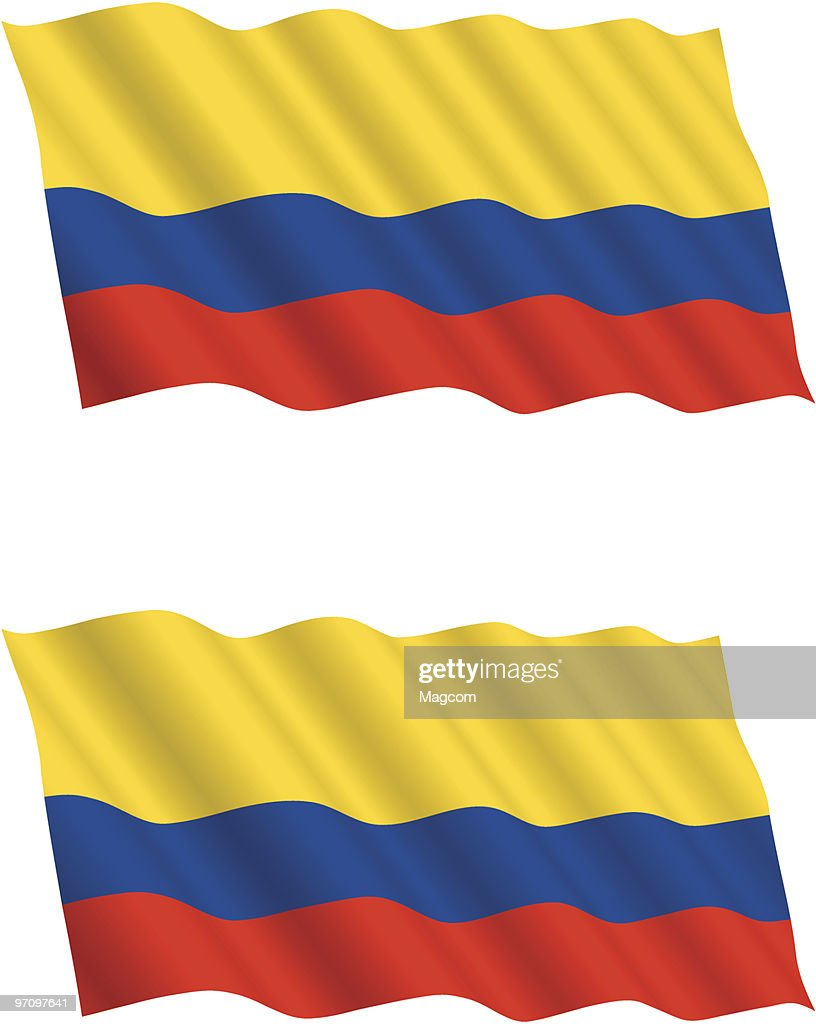 Colombian Flag Flying in the Wind