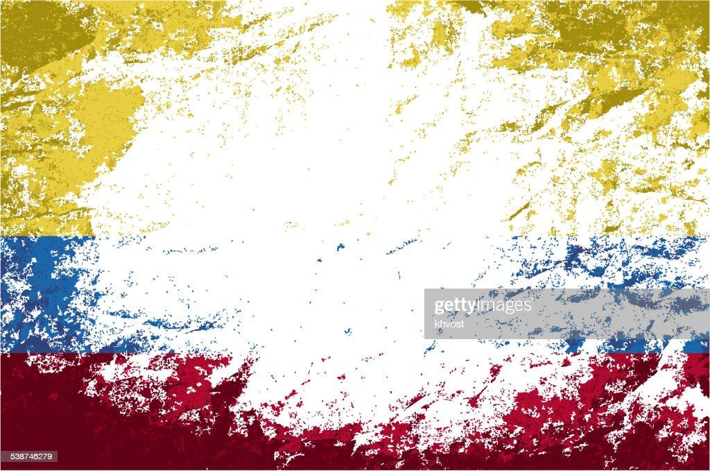 Colombian flag. Grunge background. Vector illustration