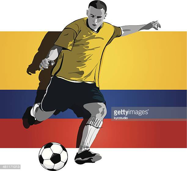 colombian soccer player - heading the ball stock illustrations