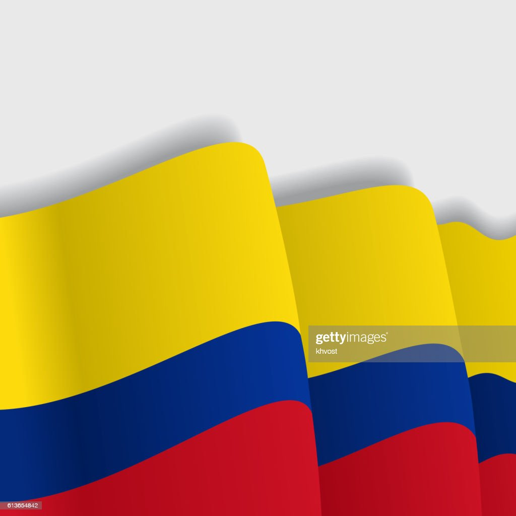 Colombian waving Flag. Vector illustration.
