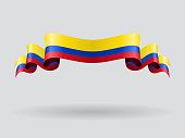 Colombian wavy flag. Vector illustration.