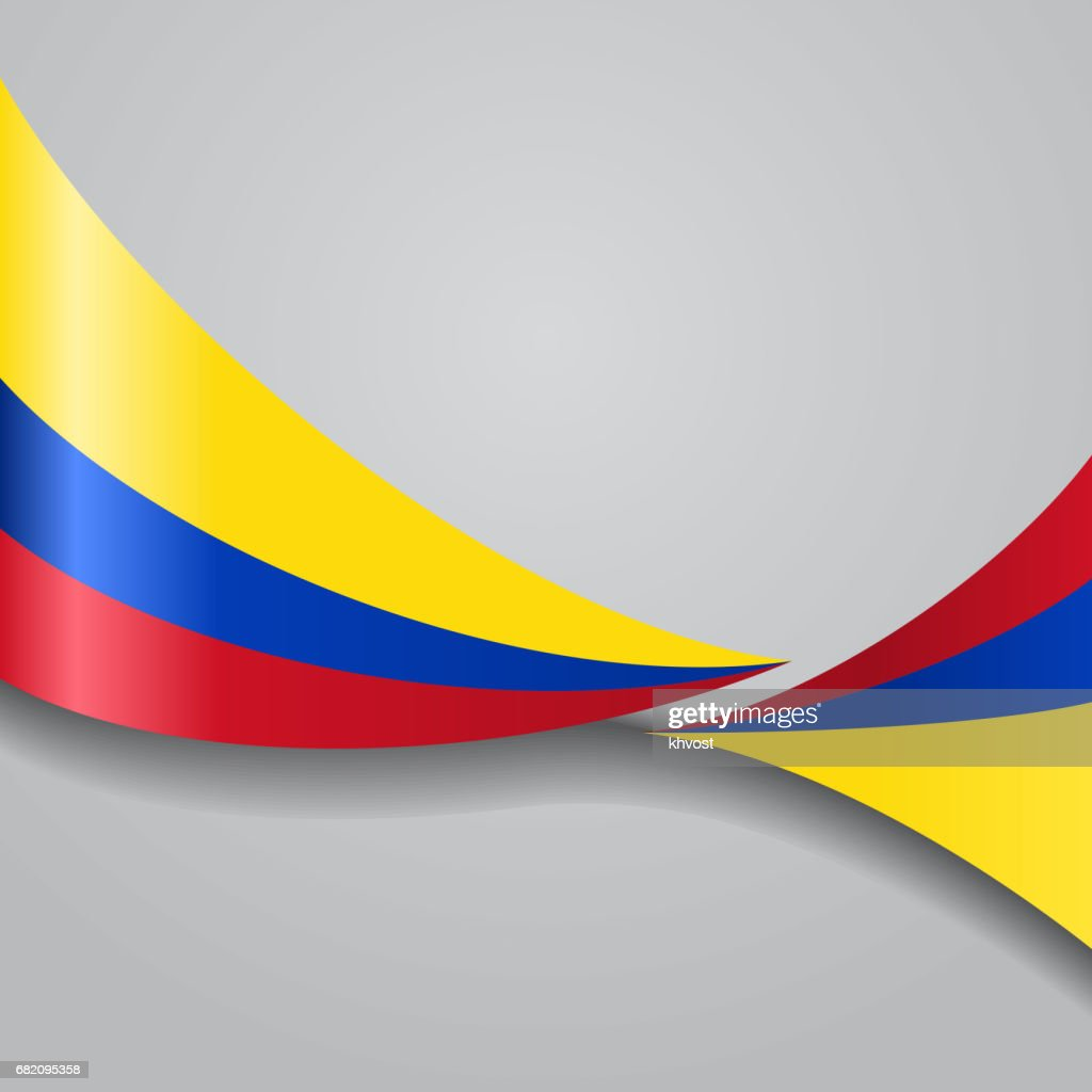 Colombian wavy flag. Vector illustration.