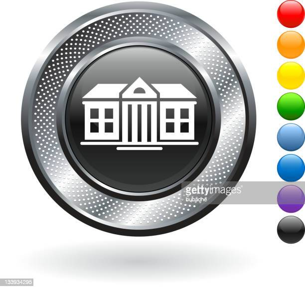 colonial mansion royalty free vector art on metallic button