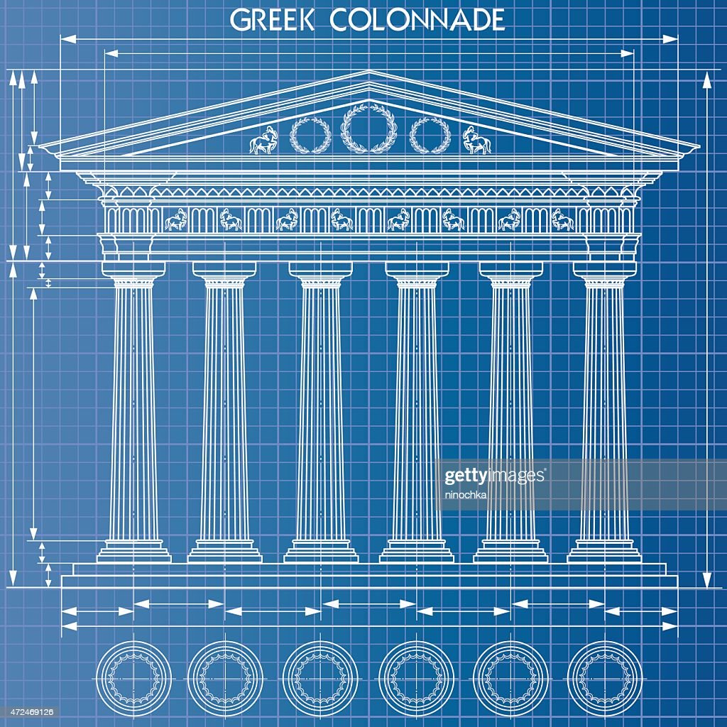 Colonnade blueprint : stock illustration