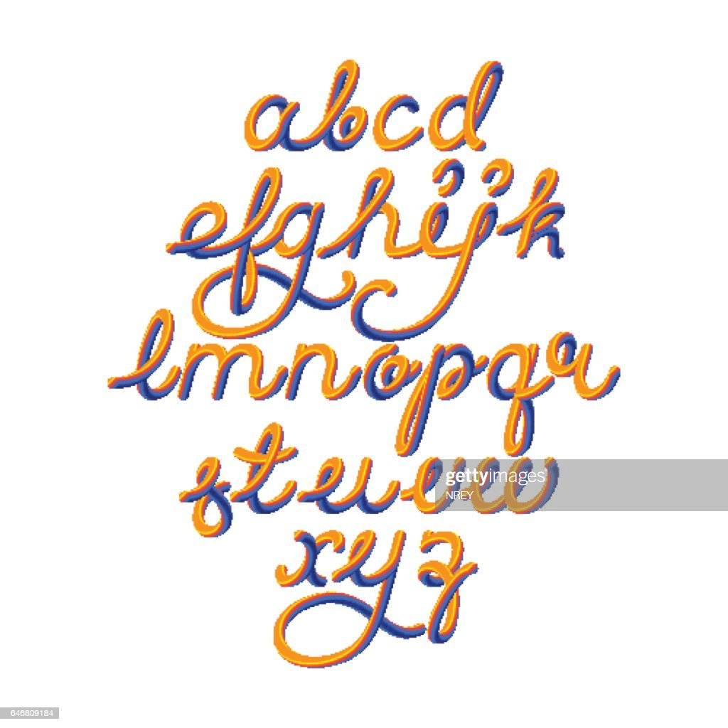 Color 3D alphabet vector pipe font