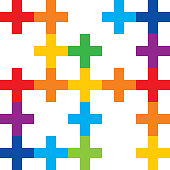 Color Abstract Crosses Seamless Pattern