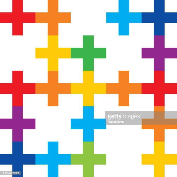 color abstract crosses seamless pattern - plus sign stock illustrations, clip art, cartoons, & icons