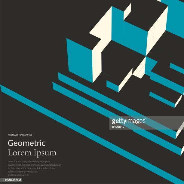 ilustraciones, imágenes clip art, dibujos animados e iconos de stock de color abstract geométrico cubo 3d estructura de fondo - arquitectura
