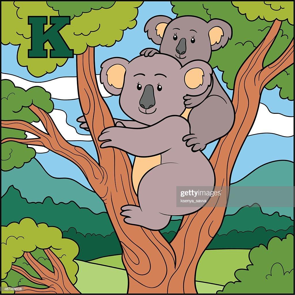 Color alphabet for children: letter K (koala)