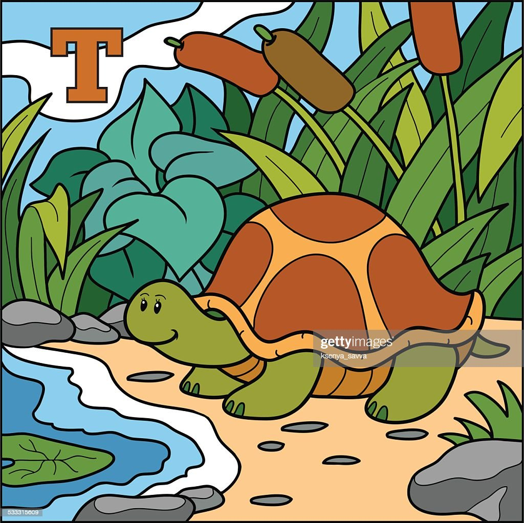 Color alphabet for children: letter T (turtle)