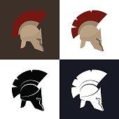 Color and Silhouette Greek Helmet