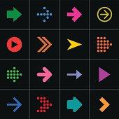 Color arrow icon web button simple pictogram internet sign