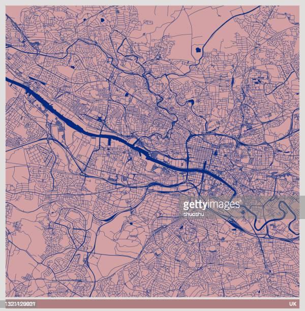 ilustrações, clipart, desenhos animados e ícones de mapa estilo de ilustração de arte colorida, cidade de glasgow, escócia, reino unido - glasgow escócia