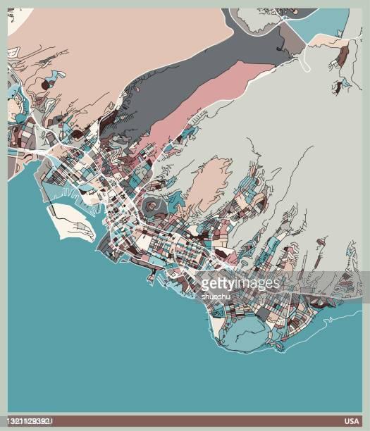 color art illustration style map,honolulu city,usa - honolulu stock illustrations